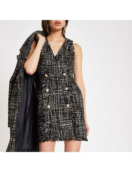 Black Boucle Sequin Mini Dress by River Island