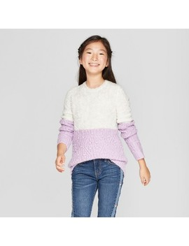 Girls' Color Block Pullover Sweater   Cat & Jack™ Gray/Purple by Cat & Jack