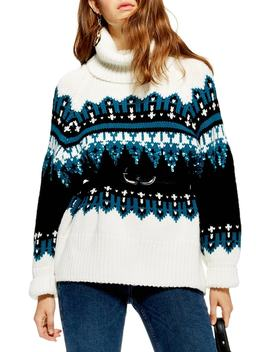 Sequin Oversize Fair Isle Sweater by Topshop
