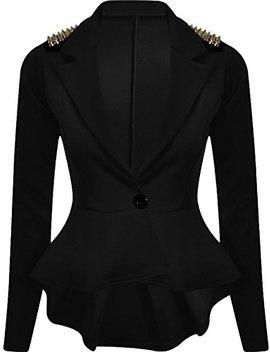 Forever Womens Long Sleeves Plain Spikes Shoulder Peplum Button Blazer by Forever