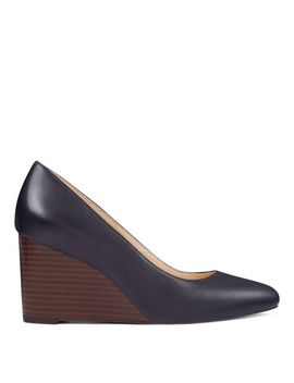 Jazzin Almond Toe Wedges   Navy Leather by Nine West