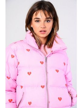 **Heart Print Puffer Coat By Glamorous by Topshop