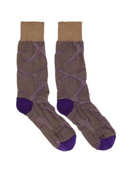 Purple & Beige Tape Socks by Issey Miyake Men
