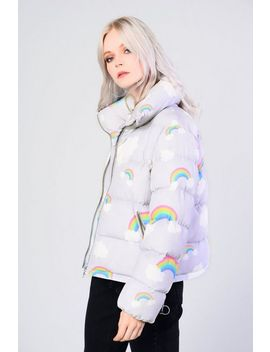 **Rainbow Printed Puffer Coat By Glamorous by Topshop
