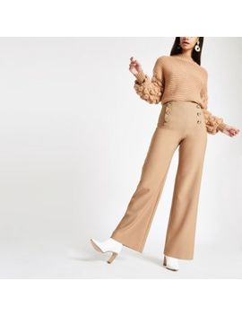 Tan Wide Leg Button Detail Pants by River Island