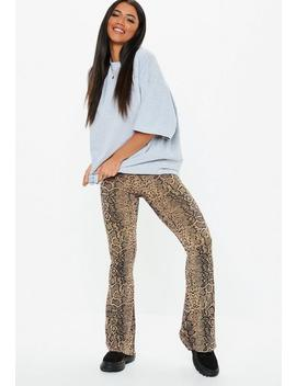 Tall Brown High Waist Kick Flare Snake Print Trousers by Missguided