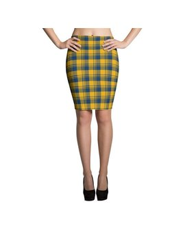 West Virginia Gold & Blue Plaid Pencil Skirt, Go Mountaineers, Wvu by Etsy
