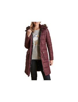 Barbour Foreshore Baffle Quilted Hooded Coat, Aubergine by Barbour
