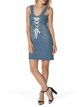 Tula Lace Up Denim Dress by Paige