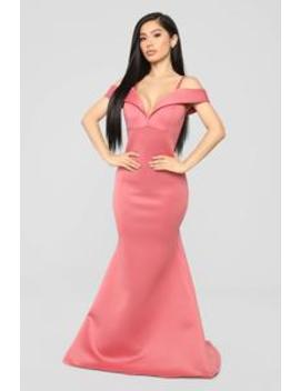 Going Hollywood Off Shoulder Gown   Mauve by Fashion Nova