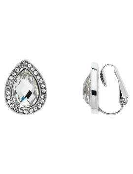 Monet Glass Crystal Teardrop Clip On Stud Earrings, Silver/Clear by Monet