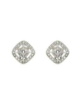 Finesse Swarovski Crystal Diamond Shaped Clip On Earrings, Silver by Finesse
