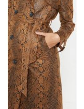 Brown Snakeskin Trench Coat by Prettylittlething