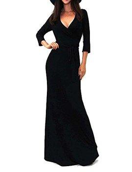 Vivicastle Women's Solid V Neck 3/4 Sleeve Faux Wrap Waist Long Maxi Dress by Vivicastle