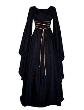 Misassy Womens Renaissance Costumes Medieval Irish Over Dress Victorian Retro Gown Cosplay by Misassy