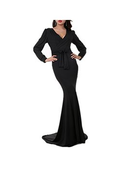 Riveroy Women's Mermaid V Neck Long Sleeve Halloween Party Maxi Dress With Belt by Riveroy
