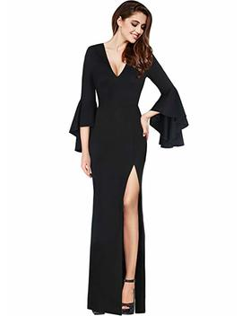 Vf Emage Womens Sexy V Neck Bell Sleeves Work Party Cocktail Sheath Dress by Vf Emage