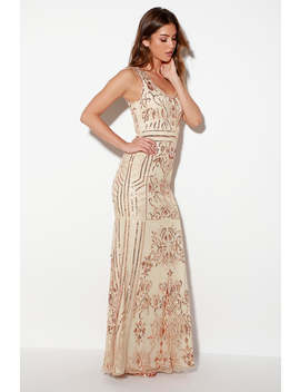 Dramatic Entrance Rose Gold Sequin Maxi Dress by Lulus
