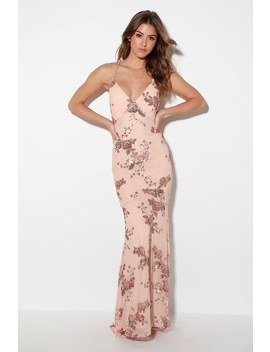 Valhalla Rose Gold Sequin Lace Up Maxi Dress by Lulus