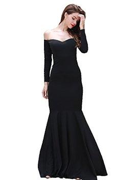 Miss Ord Missord Women's Long Sleeve Word Shoulder Mermaid Floor Length Dress Party Gown by Miss Ord