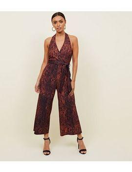 Brown Snake Print Halterneck Jumpsuit by New Look