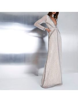 Beige Embellished Choker Neck Maxi Dress by River Island