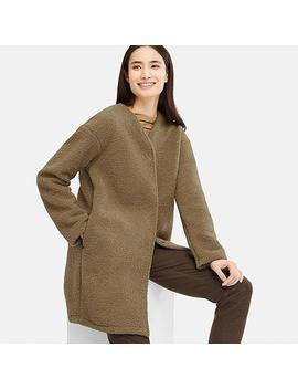 Women Fleece Long Sleeved Coat by Uniqlo