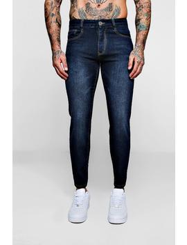 Slim Fit Denim Jeans In Navy by Boohoo