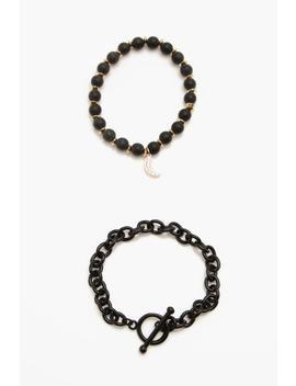 Metal Bead Bracelet Pack by Boohoo