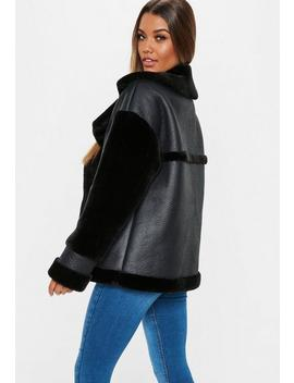 Black Faux Fur Sleeve Aviator Jacket by Missguided