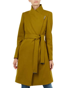 Ted Baker Sandra Wool Blend Wrap Coat, Green Mid by Ted Baker