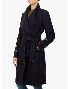 Ted Baker Tyylaa Wool Blend Wrap Front Coat, Blue by Ted Baker
