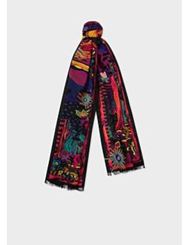 Men's Black 'dreamer' Pattern Embroidered Wool Scarf by Paul Smith