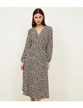 Brown Leopard Print Midi Wrap Dress by New Look