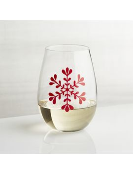 Snowflake Stemless Wine Glass by Crate&Barrel