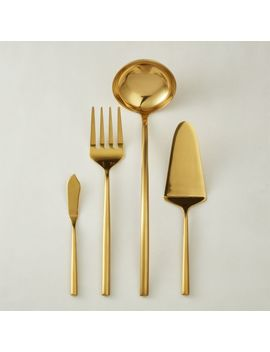 4 Piece Rush Gold Serving Utensil Set by Crate&Barrel