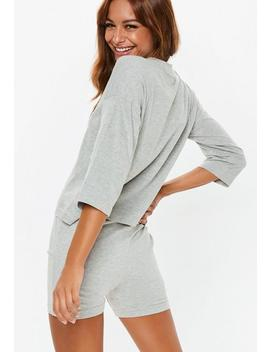 Gray Marl Oversized Cycling Short Pajamas Set by Missguided
