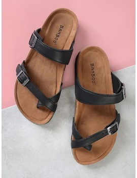 Cork Footbed Double Strap Thong Sandals by Sheinside