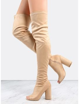 Faux Suede Peep Toe Thigh Boots Nude by Sheinside
