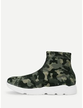 Camo Print High Top Chunky Sneakers by Sheinside