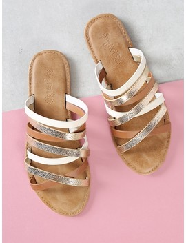 Asymmetrical Strappy Slide Sandal by Sheinside