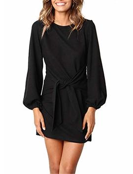 Midosoo Womens Casual Round Neck Puff Sleeve Solid Pencil Dress With Belt by Midosoo