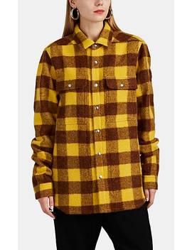 Checked Alpaca Wool Shirt Jacket by Rick Owens