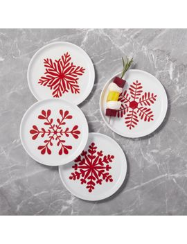 Mercer Snowflake Appetizer Plates, Set Of 4 by Crate&Barrel