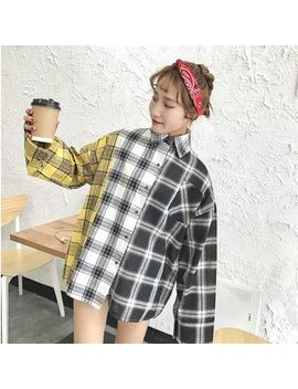 Tanee   Color Block Check Long Sleeve Loose Fit Shirt by Tanee
