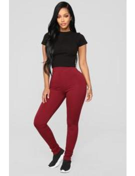 Almost Everyday Leggings   Burgundy by Fashion Nova