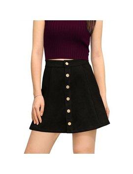 Women's Mid Rise Button Closure Front Bonded Suede A Line Mini Skirt by Unique Bargains