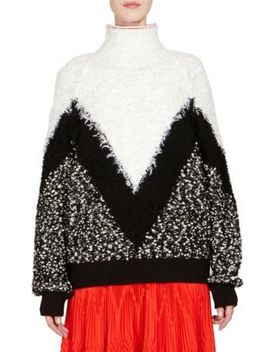 Mohair & Wool Chevron Oversize Sweater by Givenchy