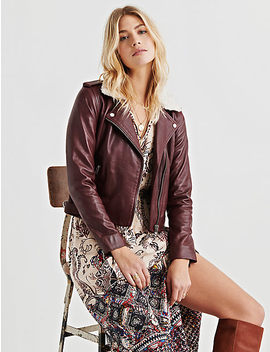 Sherpa Collar Leather Jacket by Lucky Brand
