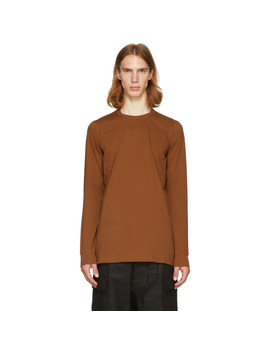 Brown Long Sleeve Level T Shirt by Rick Owens